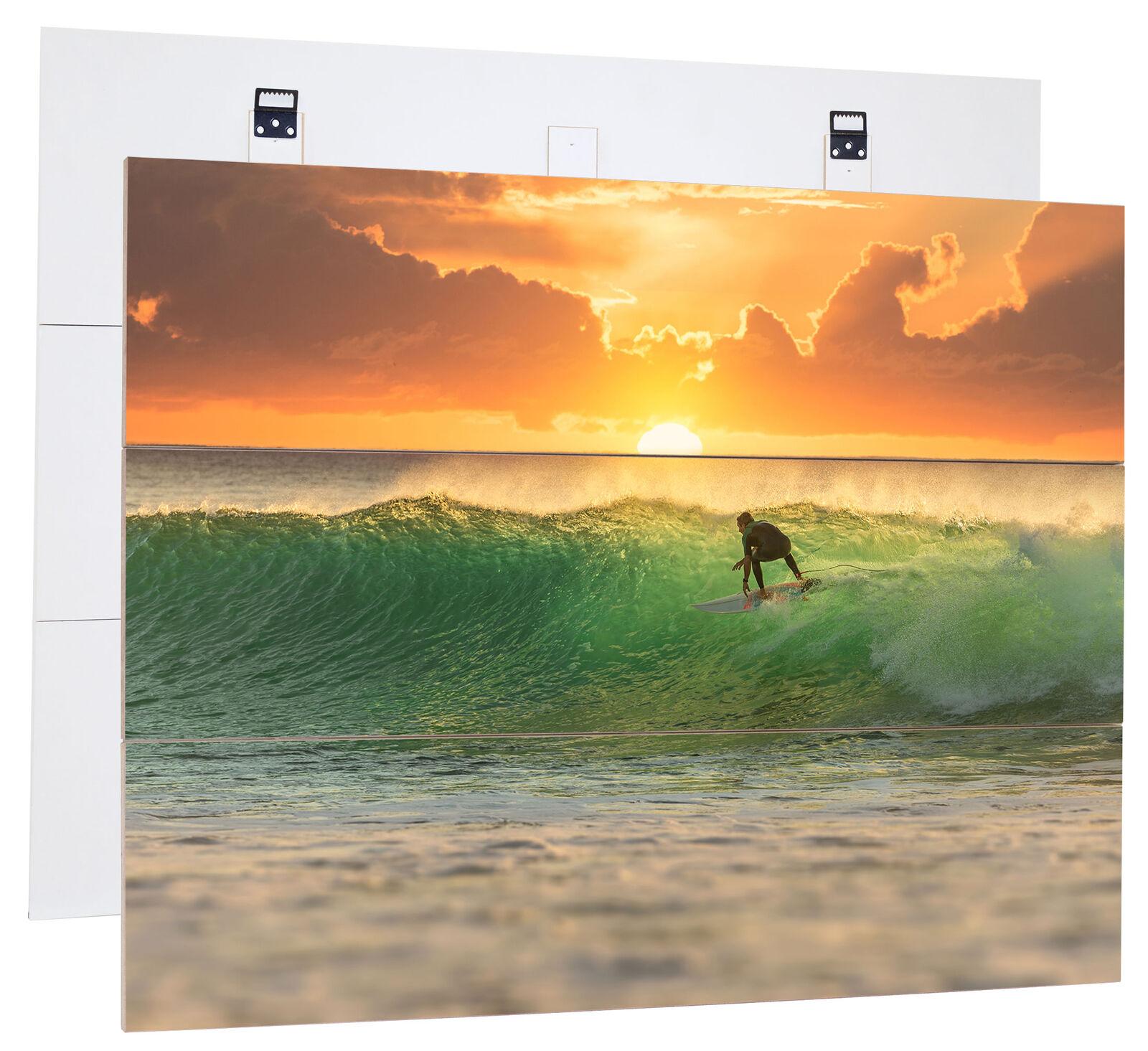 Le surf coucher de soleil, wellenreit-MDF-panneau bois au bretterlook, décoration