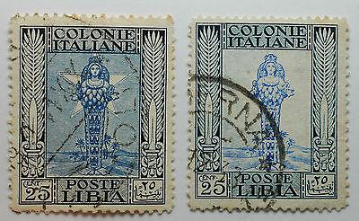 1921 Italien Vereinigte Kölnischwasser Libyen 25 Cent Störungen Der Farbe