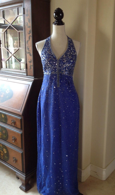 INTERLUDE CALIFORNIA Cobalt bluee 100% silk Beaded Sequined Long Dress Sz XL
