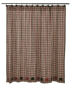 Image Is Loading CARSON STAR Shower Curtain Plaid Black Burgundy Rustic
