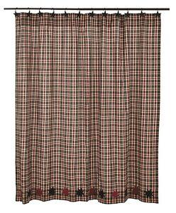 Image Is Loading CARSON STAR Shower Curtain Plaid Black Burgundy Rustic