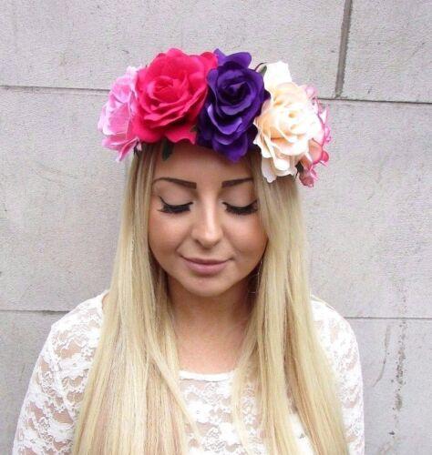 Grande fleur-Rose pourpre rose clair Garland bandeau cheveux Couronne Festival 2453