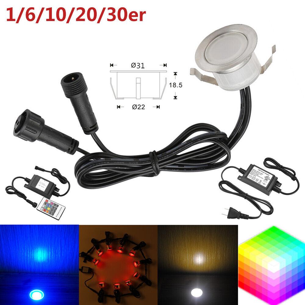 1-50er Set Φ31mm 12V LED Boden Einbaustrahler Einbauleuchte Außenlampe Edelstahl