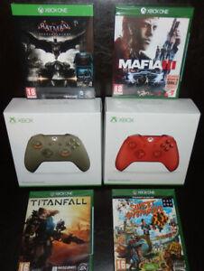 Lot-2-Manettes-Edition-Limitee-Officiel-XBOX-ONE-Microsoft-4-JEUX-FRA-NEUF