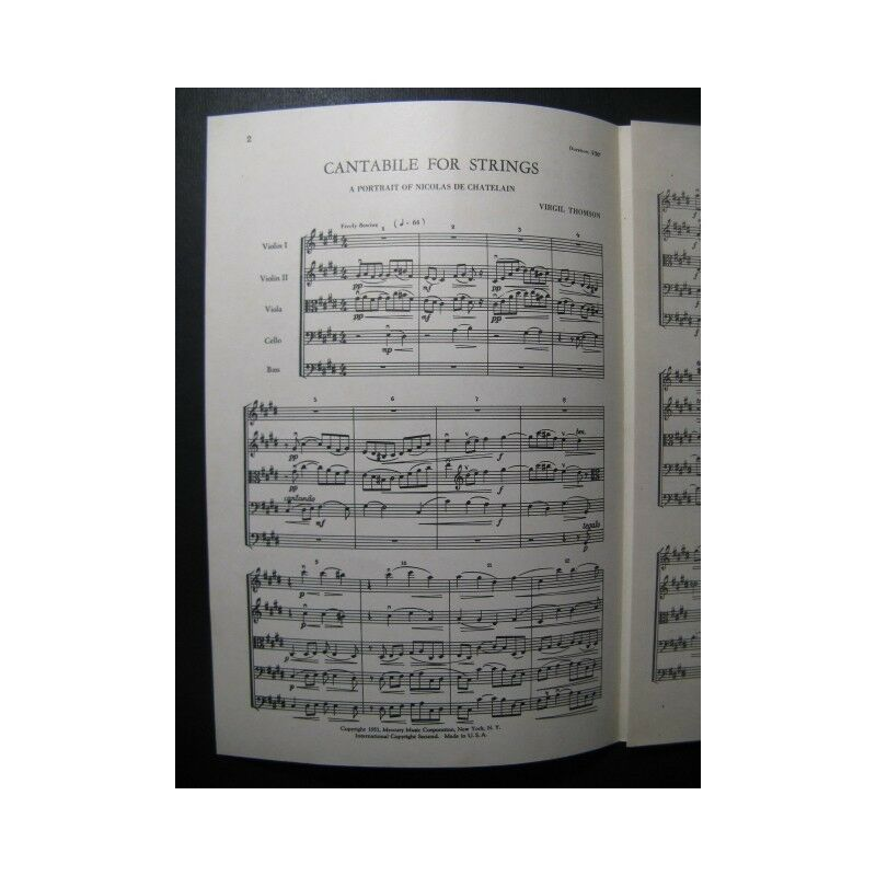 THOMSON THOMSON THOMSON Virgil Cantabile for Strings Orchestre Cordes 1951 partition sheet music a8531c