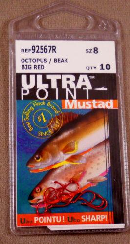 Beak Hooks Big Red Fishing Hook 1 Pack of 10 Mustad Ultra Point # 8 Octopus