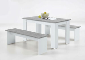 Durban White And Grey Dining Table With Bench Seats Lounge And