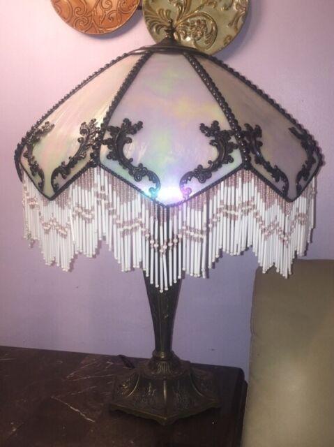 Meyda Tiffany XL Table Lamp with Victorian Lamp Shade Romance Slag Fringe Brass