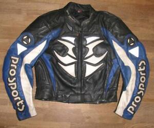 HEIN-GERICKE-Motorrad-Lederjacke-Biker-Jacke-in-schwarz-blau-ca-Gr-52
