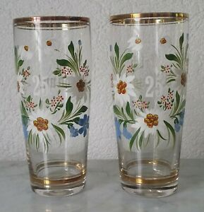 2-Old-Glasses-25-Anniversary-Band-Silver-Wedding-Gentian-Edelweiss-Gold-Rim