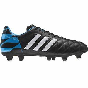 Dettagli su Adidas Performance 11NOVA Scarpe da Calcio Terreno Morbido in pelle Neri Blu