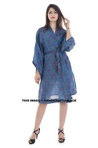 Vintage-Silk-Saree-Paisley-Print-Blue-Robe-Short-Gown-Women-039-s-Dress-Bathrobe-40-034