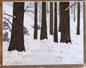 Lj Oakes Original 11 X 14 Acrylic Painting Snowy Woods Ebay