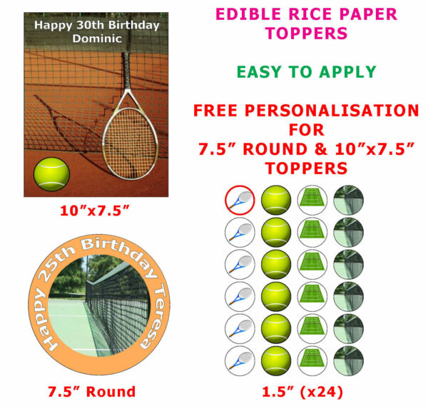 30 Table Tennis Ball Edible Cup Cake Toppers Decorations