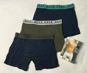 Hugo Boss men/'s 3 pack Black//Olive//Navy boxer brief cotton stretch S M L XL NIB