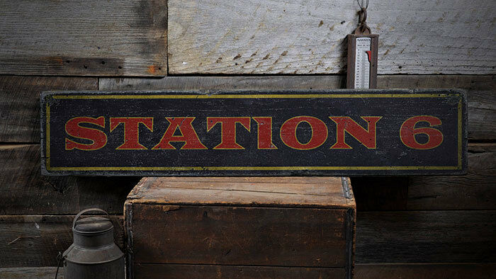 Station Wood Sign, Fire Station Decor -Distressed Wooden Sign ENS1001983