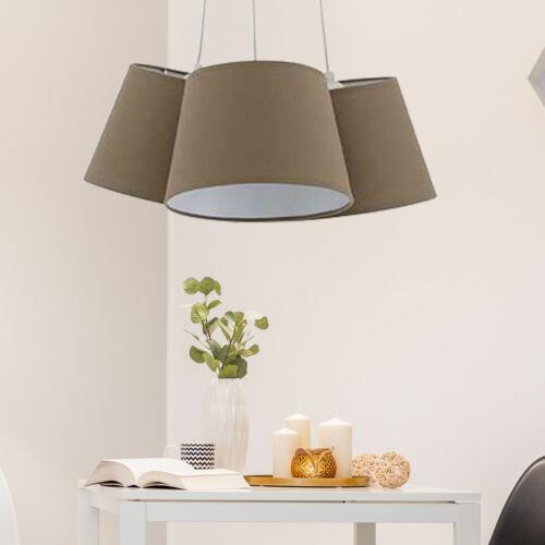 Luxus Hänge Lampe Ess Zimmer Pendel Decken Leuchte Stoff Schirm braun Strahler