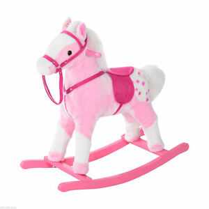 Qaba Plush Rocking Horse Kids Pony Ride-on Toys w/ Sound Classic Pink