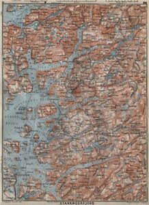 kart over etne STAVANGER/BOKNA FJORD topo map. Nedstrand Tau Sauda Etne. Norway  kart over etne