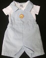 NWT GYMBOREE BOYS INFANT 2PC LIGHT BLUE LION COVERALL COLLAR BODYSUIT PREEMIE