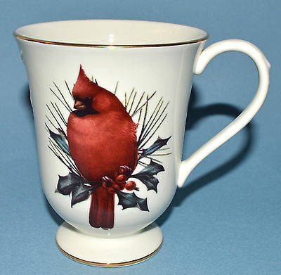 WINTER GREETINGS Lenox Catherine McClung Footed Coffee Tea Mug Cup Cardinal NEW!