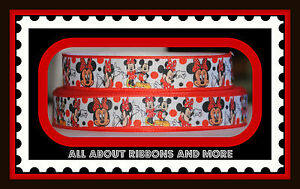 7/8 INCH MINNIE AND MICKEY WITH BLACK AND RED DOT GROSGRAIN RIBBON 1 YARD