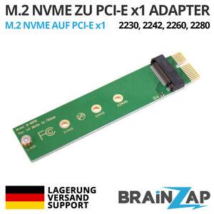 M.2 M2 NVMe SSD zu PCI-E PCI-Express PCIe 3.0 x1 Adapter Konverter Karte M Key