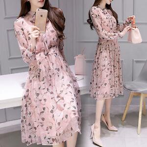 bc011e61b1a4 Elegant Korean Woman Spring Summer Long Sleeve Floral Chiffon Waist ...