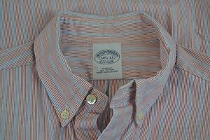 Brooks Brothers Red Blue Striped Slim Fit Button Collar Dress Shirt Sz 14.5/33