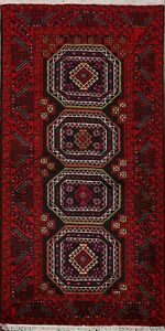 Tribal-Nomad-Balouch-Afghan-Geometric-Oriental-Area-Rug-Hand-Knotted-Carpet-3x6
