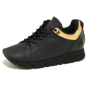 online store 3e8cf 8e916 Details about 7953N sneaker LEATHER CROWN nero oro scarpe donna shoes women