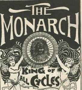 Monarch Bicycles 1895 Lion King of All Cycles Art Nouveau Vintage Print Ad
