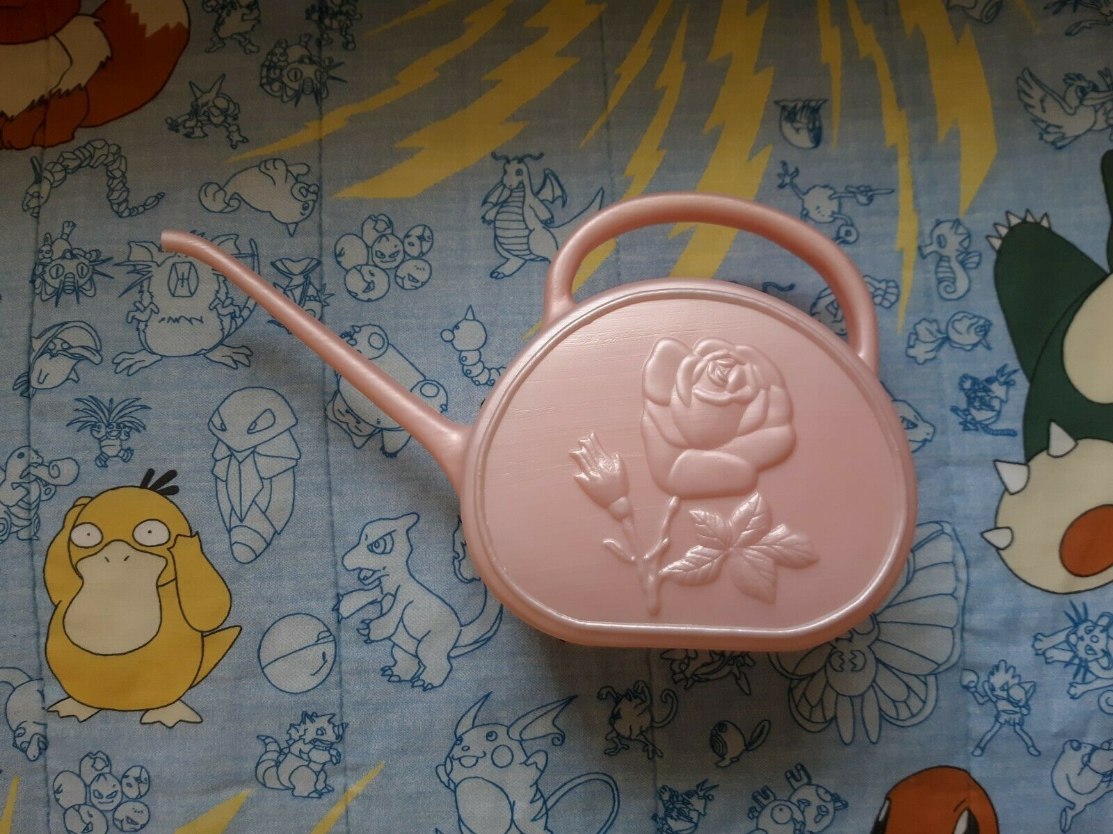 Union Products Watering Can Leominster MA Rose Flower Pink Plastic Cute Vintage