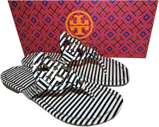 risparmia fino al 70% Tory Burch Miller Thong Sandal Stripped Patent Leather Leather Leather Flats Flip Flop 7 Slide  80% di sconto