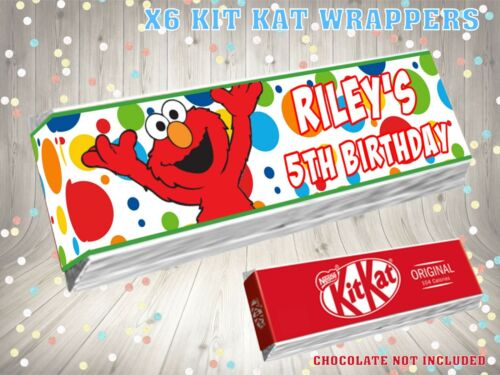 PERSONALISED Elmo Kit Kat Label Wrapper Ideal Party Bag Filler