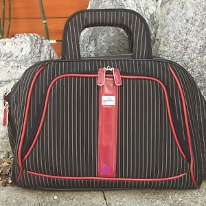 QANTAS Black Red Pinstripe Laptop   Tablet Travel Overnight Duffle ... c9d8dd402