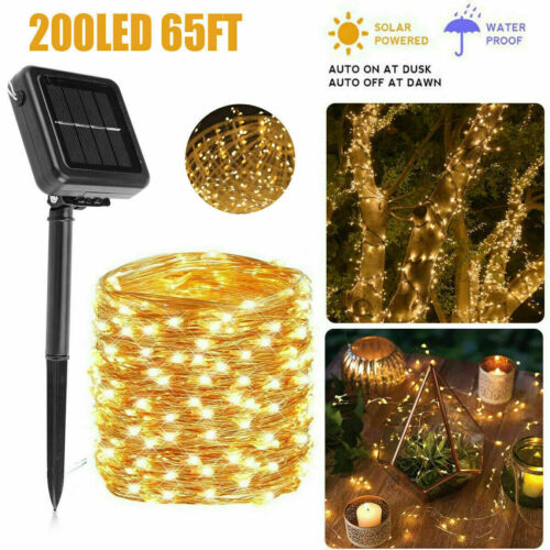 65FT Solar Fairy String Lights 200LED Outdoor Waterproof Decor Xmas Party Lights