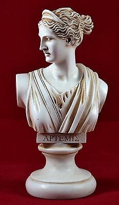 artemis diana bust greek statue nature moon goddess patina colour NEW