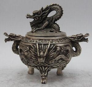 very beautiful antique Vintage Tibet Copper Dragon Lion Incense Burner Censer