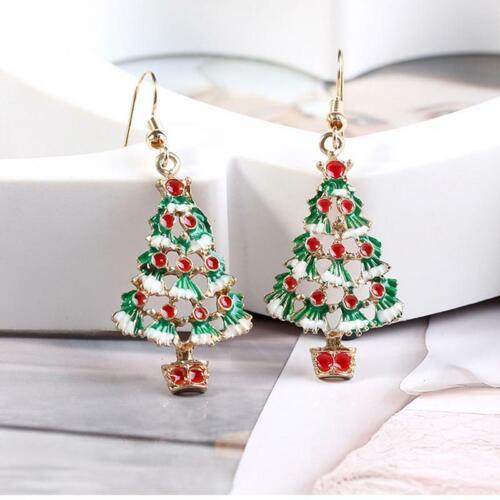 Fashion Christmas Enamel Xmas Tree Drop Dangle Earrings Ear Stud Women JewelryLE