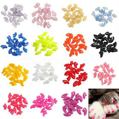 20pcs Soft Cat Pet Nail Caps Claw Control Paws off + Adhesive Glue Size XS S M L