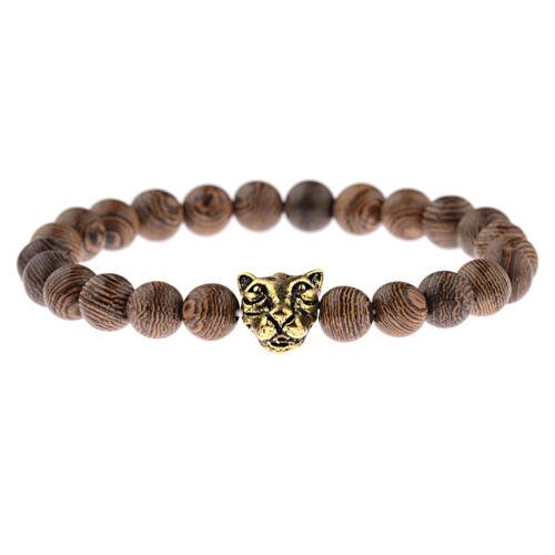 Fashion Tiger Lion Crown Beads Energy Yoga Reiki Men Women 8mm Wood Bracelets