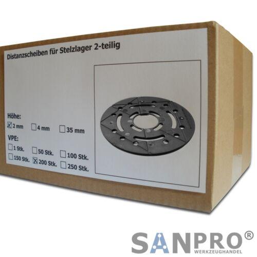 200 x Distanzscheiben 2 mm für höhenverstellbares Stelzlager Plattenlager