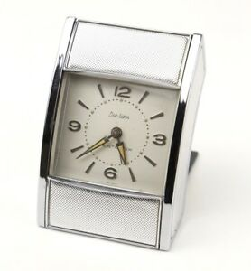 Vintage-WESTCLOX-1950-039-s-Travel-Alarm-Clock-Roll-Tambor-Door-Mid-Century-Wind-Up