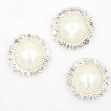 10x Hotsale Silvery Round Rhinestone Pearl Alloy Embellishment Stick-on Craft J