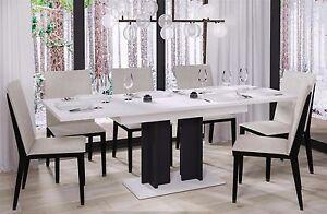 design s ulentisch hochglanz wei schwarz esstisch zweifarbig ausziehbar modern ebay. Black Bedroom Furniture Sets. Home Design Ideas