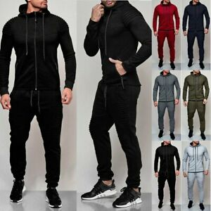 MOUTEN Mens Hoodie Sweatshirt+Pants Zip Front Contrast Tracksuits Sweatsuits Outfits