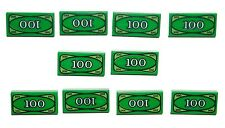 LEGO 10 Money $100 Bills City Minifigure Cash Green Tiles 1x2