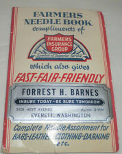 Vintage Farmers Insurance Needle Book Made in West Germany Sewing Darning