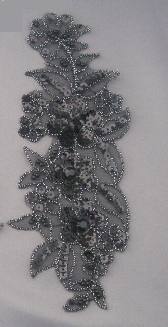 Venise Lace Sequins & beaded Applique Trim Motif #9 in Black